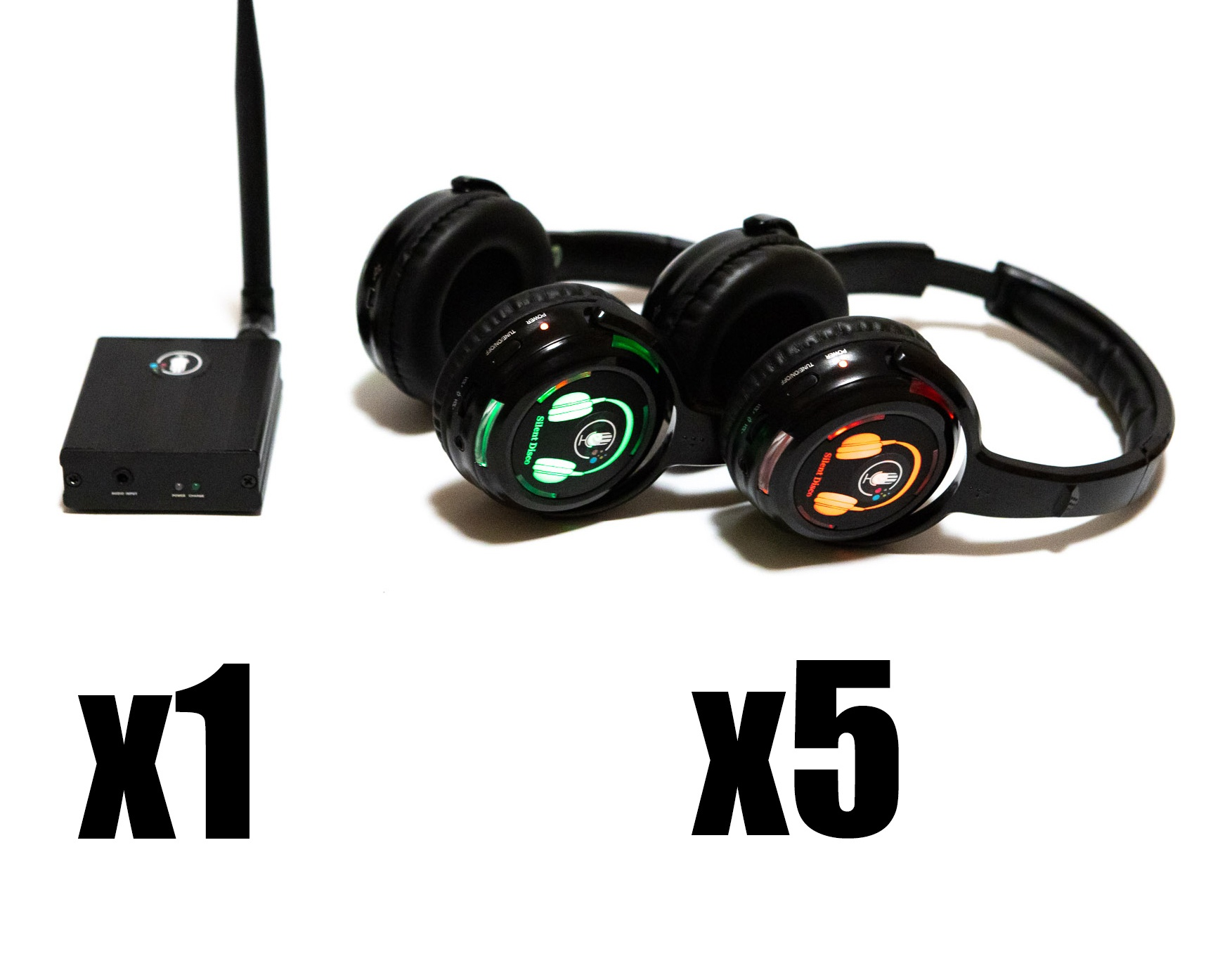 Silent Disco -  5 Headphone kit